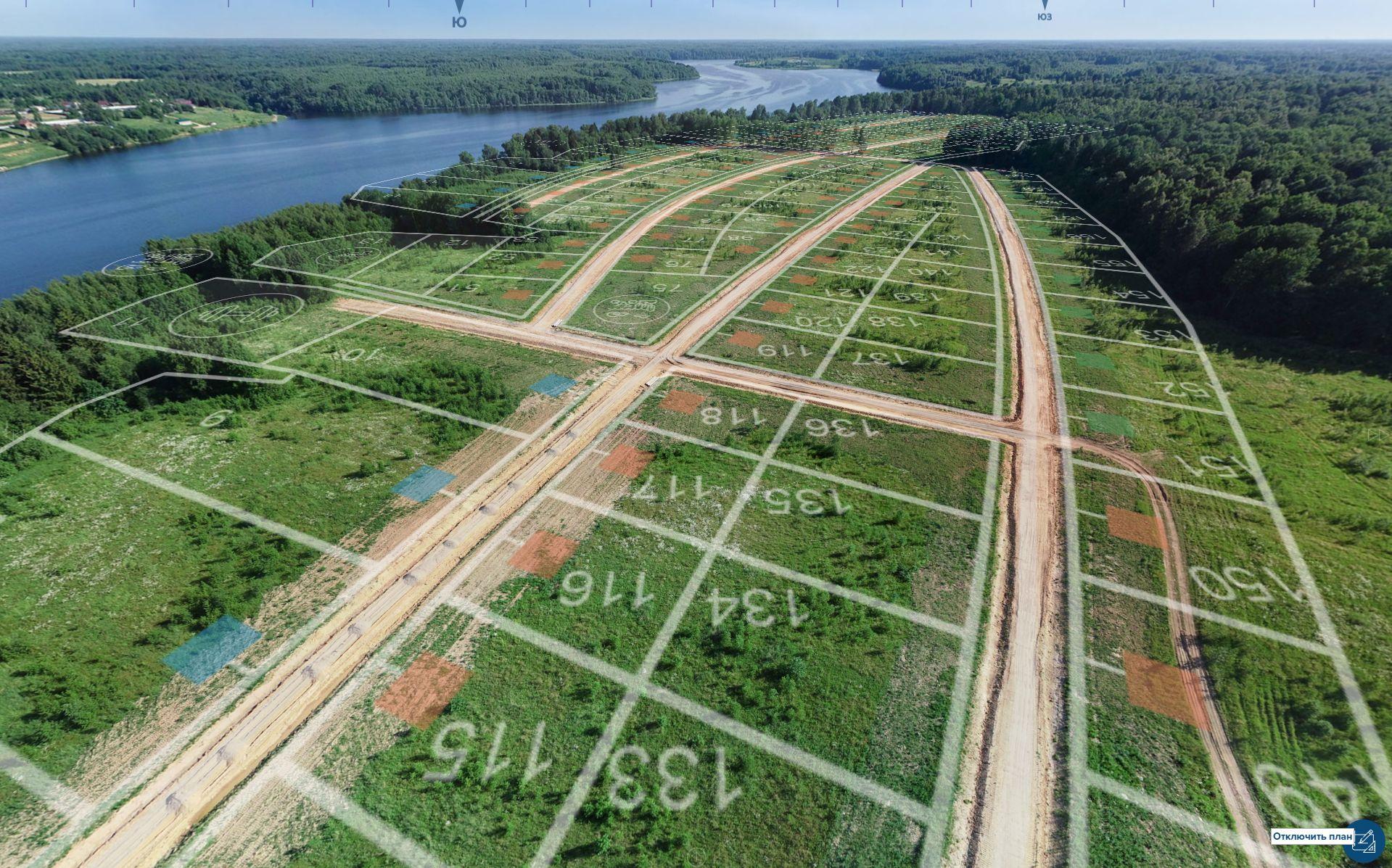 Границы участков накладываются на панорамные снимки автоматически с учетом ракурса съемки